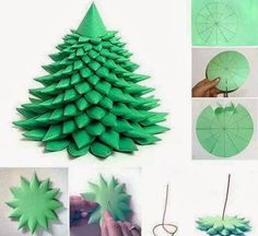 How to DIY Layered Paper Christmas Tree from Free Template   www.FabArtDIY.com