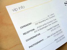 Wedding Day Pocket Schedules. $2.50, via Etsy.