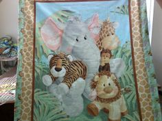 Jungle Babies blanket with self edging and by MyEclecticTreasure, $30.00