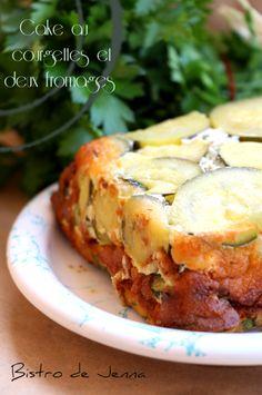 Cake au courgettes, fêta et fromage de chèvre ----------------------------------------------------- INGREDIENS: Pour 6 personnes : 2 courgettes Bio 4 oeufs 200 g de bûche de chèvre frais 100 g de fêta 20 cl de crème fraiche 4 cuillère à soupe de persil...