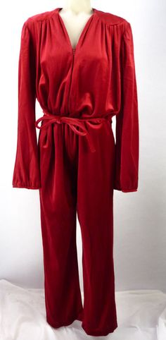 35fb2a70bc8 Vintage 80s Wine Red Velour Jumpsuit L XL Velvet Catsuit Lounge Romper  Tracksuit