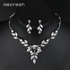 Mecresh Noble Cubic Zirconia Bridal Jewelry Sets Vivid Leaf-Shape Necklace  Sets Silver Color Wedding Jewelry for Women 9fdb815f30ab