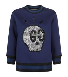 05755bde9b2 Gucci GucciGhost Embellished Neoprene Sweatshirt available to buy at  Harrods. Shop women s designer fashion online and earn Rewards points.
