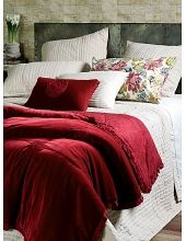 This hand quilted chambray bedspread in oatmeal is embellished with strips of velvet ribbon and hand embroidered crosses, and finished with a textural pin tucked, hand quilted border. Red Cottage, Quilt Border, Linen Bedding, Bed Linen, Green Velvet, Bed Spreads, My Dream Home, My House, Comforters