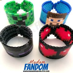 Minecraft Bracelet (Creeper, Steve, Enderman and Hearts) perler beads Minecraft Party, Minecraft Perler, Minecraft Crafts, Steve Minecraft, Minecraft Beads, Creeper Minecraft, Minecraft Stuff, Perler Beads, Perler Bead Art