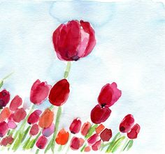 Tulip Field no. 2 original watercolor painting, colorful, mothers day, cottage chic, Fuchsia, red orange, sky blue, spring