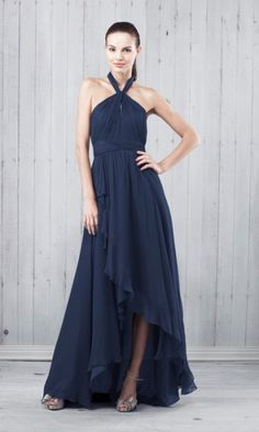 Attractive A-line Halter Chiffon Long/Floor-length Bridesmaid Dresses with Pleats KQ1404P917229 - Katequeen.com
