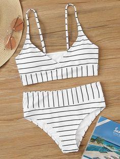 Mar 24 2020 - Striped V Neck Top With High Waist Bikini Set | SHEIN USA Source by abbirose19 #summer bathing suits
