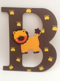 Hand Painted Wooden Letters With An Animal by PlaidandPaisleyShop