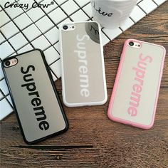 Luxury Brand Mirror Supreme Mobile Phone Case For Apple iPhone 5 5s Se 6 6s 6 Plus 7 7Plus Cases Cover Fundas Hard PC Coque Capa