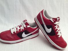 d32066a8cf4 NIKE DUNK LOW CL ATHLETIC SHOES SIZE 8.5 RED BEET WHITE SPARK BLACK VERY  RARE