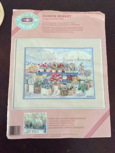 "From The Heart ""Flower Market"" printed cross stitch #53914  1989 Dimensions #Dimensions"