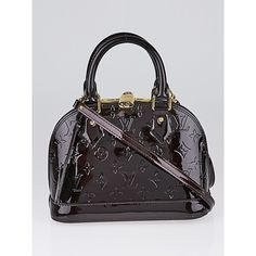Pre-owned Louis Vuitton Amarante Monogram Vernis Alma BB Bag (4.675 RON) ❤ liked on Polyvore featuring bags, sparkle bag, preowned bags, louis vuitton bags, patent bag and monogrammed bags