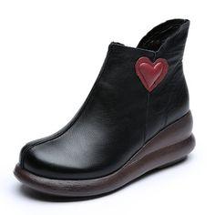 Designer SOCOFY Retro Handmade Zipper Ankle Platform Leather Boots - NewChic Mobile