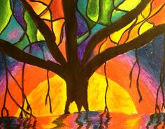 Tutorial for Banyan tree pastel art project for kids