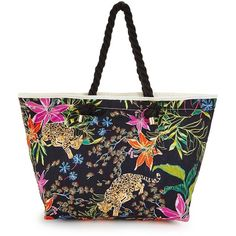 V By Very Floral Leopard Beach Bag ($19) ❤ liked on Polyvore featuring bags, handbags, floral handbags, nautical handbags, summer purses, leopard handbags and flower print handbags