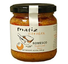 Matiz Romesco sauce  Matiz Catalan Romesco sauce is made from a traditional recipe and all natural products that have been used in Mediterranean kitchens for centuries. This sauce is wonderful on meat, seafood, and vegetables - cook with it, use it as a dip, or spread it on sandwiches.  Gluten free, unlike most romesco sauces that are made with bread crumbs.