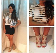 Glency feliz look of the day stripe shirt and black shorts