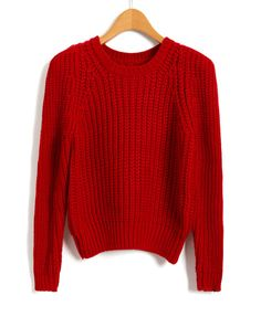 Chunky knit red sweater pattern
