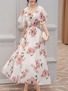 Chic Round Neck Floral Printed Chiffon floral maxi dress Floral Maxi Dress summer maxi dresses floral maxi dress formal floral maxi dress women floral maxi dress outfit maxi dress formal maxi dress summer maxi dress casual maxi dress for wedding gues Floral Chiffon Maxi Dress, Maxi Dress Wedding, Maxi Dress With Sleeves, Jacket Dress, Pastel Floral Dress, Cape Sleeve Dress, Camo Dress, Sleeve Dresses, Print Chiffon