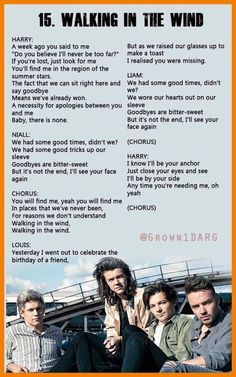 """""""Walking in the Wind"""" by One Direction. ♡"""