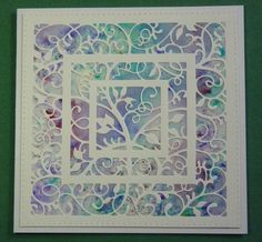 Sue Wilson die Swirly Vine on a pixie powdered card background. #creativeexpressions
