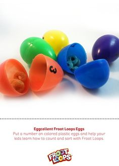 Eggcellent Froot Loops Eggs teaches your kids to count and match colors.