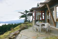 With a goal to disturb the site as little as possible, outdoor spaces are kept small. In this house, views are just as easily enjoyed from the indoors. Learn more about the 2015 Editor's Choice winner: http://www.finehomebuilding.com/houseawards/2015/editors-choice