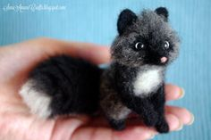 OOAK Needle felted silver fox miniature by SaniAmaniCrafts on Etsy