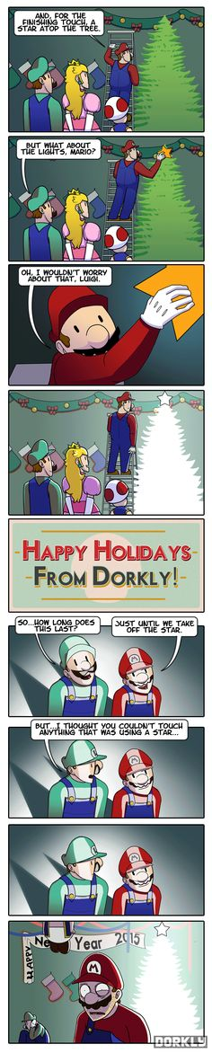 A Very Mario Christmas - Dorkly Comic. Best enjoyed if you imagine the invincibility star music in your head while looking at the last frame Video Game Memes, Video Games Funny, Funny Games, Mario Funny, Mario Memes, Dorkly Comics, Mario Comics, Nintendo Game, Gaming Memes