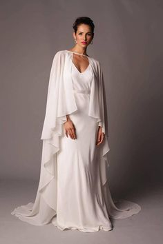 Seville Cape: Simple Ethereal Full Length Georgette Cape. Unadorned and just perfectly draped, this cape is an awesome, modern alternative to a veil. #wedding | #etsy | #bride | #cape #ad
