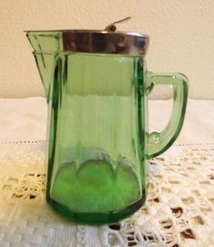 ANTIQUE HEISEY MOONGLEAM GREEN GLASS SYRUP PITCHER  $29.95 eBay