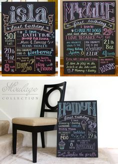 Typographic posters of first anniversary in Decoration stuff and supplies for babies and kids