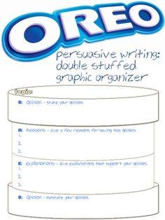 Another fun way to use Oreos (Opinion, Reasons, Explanations, Opinion) in the class! But now we are using Oreo for a persuasive essay graphic organizer. Write opinion pieces on topic or texts, supporting a point of view with reasons and information. Writing Lessons, Teaching Writing, Student Teaching, Writing Activities, Teaching Aids, Writing Posters, Writing Anchor Charts, Persuasive Text, 5th Grade Writing
