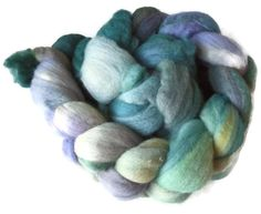 "Merino Wool Roving, Hand dyed Spinning Fiber,Felt Nuno Felt, Wet felting, Lavender and Teal, Nature Green Merino, ""Summerflower"" EU SELLER"