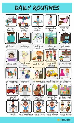 Useful Expressions to Describe your Daily Routines in English # learn english for beginners Daily Routines: Useful Words To Describe Your Daily Activities - 7 E S L Learning English For Kids, English Lessons For Kids, Kids English, English Study, Teaching English, English English, English Primary School, English Conversation Learning, English Language Learning