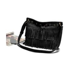 Fashion Women Vintage Shoulder Bag Fringe Tassel Drawstring Bucket Bag... (775 HKD) ❤ liked on Polyvore featuring bags, handbags, shoulder bags, fringe bucket bag, handbags shoulder bags, shoulder handbags, drawstring shoulder bag and vintage handbags