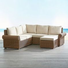Pier 1 Imports Echo Beach Latte Roll Arm 4 Piece Sectional