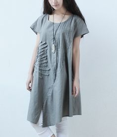 Great Flower Crinkle Chest Linen Dress-zenb.com SKU ab0492