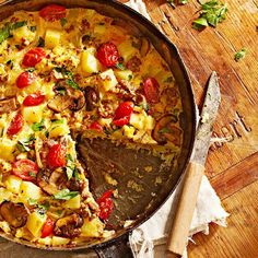 This rustic frittata is brimming with Yukon gold potatoes, crispy bacon, and loads of flavorful herbs. For a sausage-mushroom version, substitute sausage for the bacon and add in mushrooms with the onion.