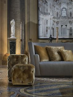 Inspiring Interior - Grey & Gold works Beautifully Together
