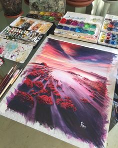 A stunning selection of watercolor landscapes by Adem Potaş.