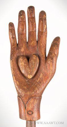 Antique Heart in Hand Staff, Oddfellows, Late Century, heart in hand detail Sculpture Art, Sculptures, Show Of Hands, Doll Closet, Odd Fellows, Wig Stand, Heart Images, Hand Art, Small Birds