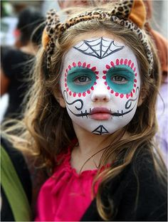 """we want to talk about Halloween Kids Makeup Ideas, So those who want to make their cute kids ready for a Halloween party must watch out full article. So checkout Cute Halloween Kids Makeup Ideas To Try This Year"""" Sugar Skull Face Paint, Sugar Skull Makeup, Sugar Skull Halloween Makeup, Candy Skull Costume, Ghost Face Paint, Scary Face Paint, Halloween Makeup For Kids, Halloween Fun, Face Painting Halloween Kids"""