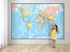 Giant Blue Ocean World Map Mural - Wall Decoration