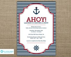Nautical Invitation - Nautical Baby Shower Invitation - Anchor - Nautical Printable - Ahoy - Sail - Boy Baby Shower - Girl - Red - Navy. $16.00, via Etsy.
