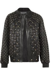Balmain Studded quilted leather bomber jacket