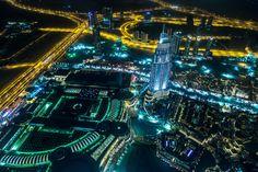 Emirates UAE Roads Dubai Megapolis Night From above Cities