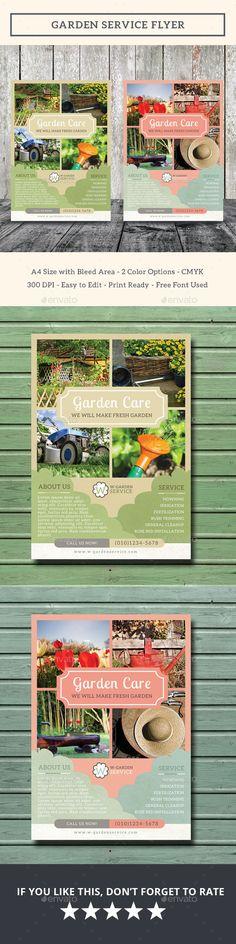 Garden Service Flyer Design Template - Flyers Print Template PSD. Download here: https://graphicriver.net/item/garden-service-flyer/17707727?ref=yinkira