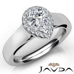 Pear Cut Halo Pave Set Diamond Anniversary Ring GIA H VVS2 18K White Gold 0 7ct   eBay